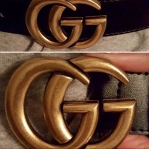 Accessories - GG belt gold buckle black leather new